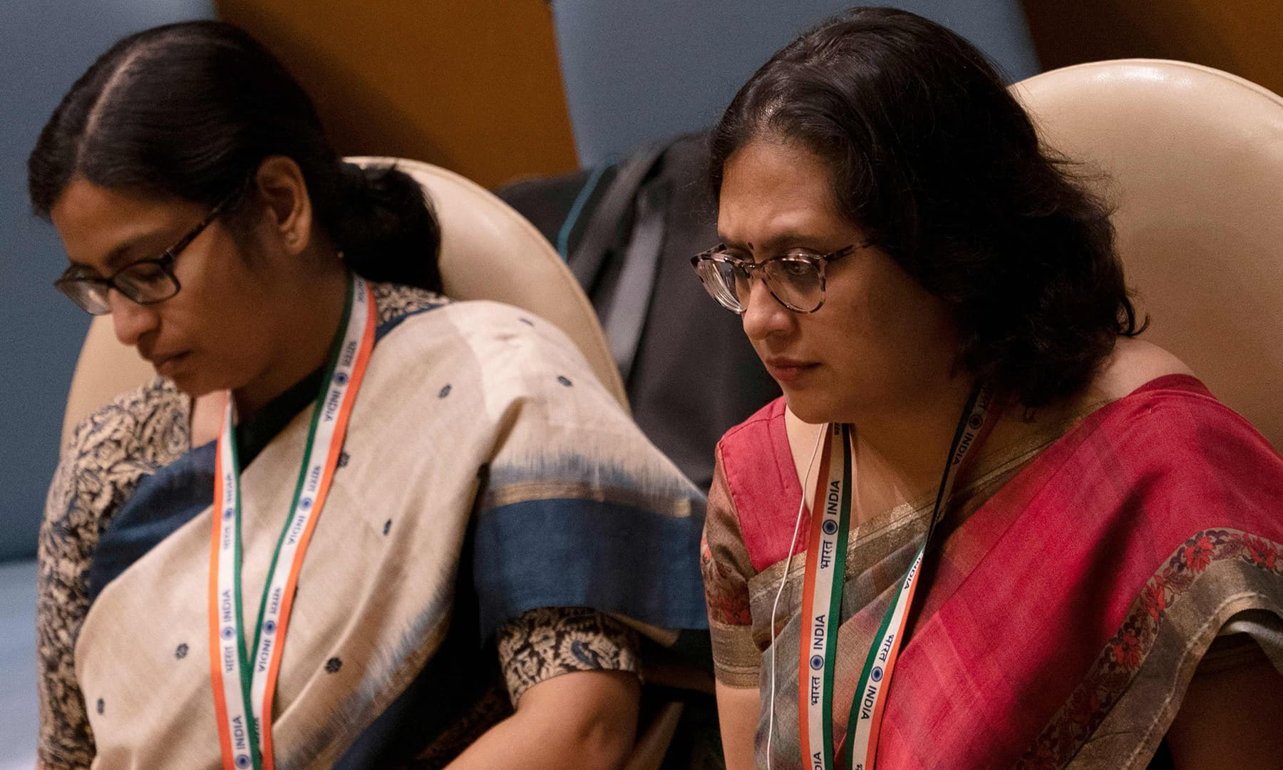 Delegates from India listen as PM Imran Khan speaks at the 74th session of the United Nations General Assembly on Friday in New York. — AFP