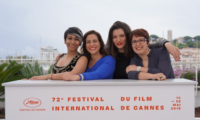 Iram Parveen Bilal (L) with other filmmakers at L'Atelier | Photo: Samina Seyed