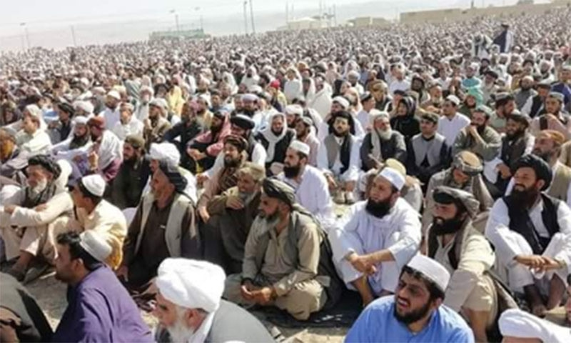 Thousands attended the funeral prayers for central leader of the Jamiat Ulema-i-Islam (JUI-F) Maulana Mohammad Hanif on Sunday. — Photo by author