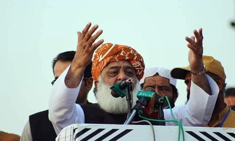 """Chief of his own faction of the Jamiat Ulema-i-Islam (JUI-F) Maulana Fazlur Rehman on Sunday said that his party's decision about the """"million march"""" towards Islamabad was irreversible, saying """"neither do we want to strike any deal with the government nor do we want to give it any space"""". — Photo courtesy JUI-F Facebook/File"""