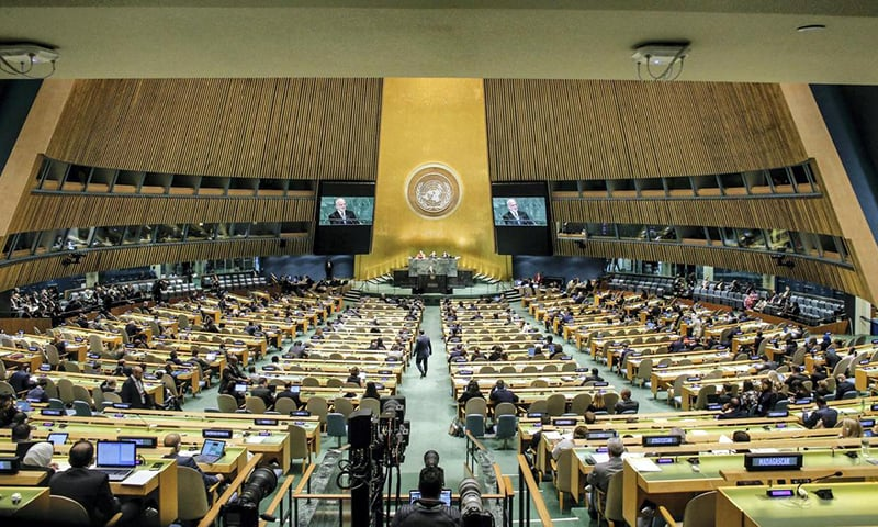 اقوام متحدہ  ہیڈکوارٹرز میں اصل سرگرمی جنرل اسمبلی ہال سے باہر ہوتی ہے —تصویر اے ایف پی