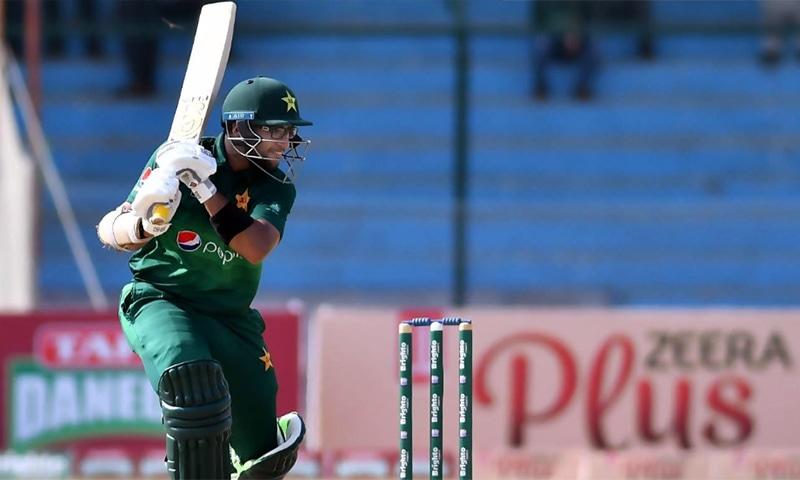 Imam-ul-Haq hits a shot during the second ODI against Sri Lanka in Karachi on Monday. — Photo courtesy: PCB Twitter