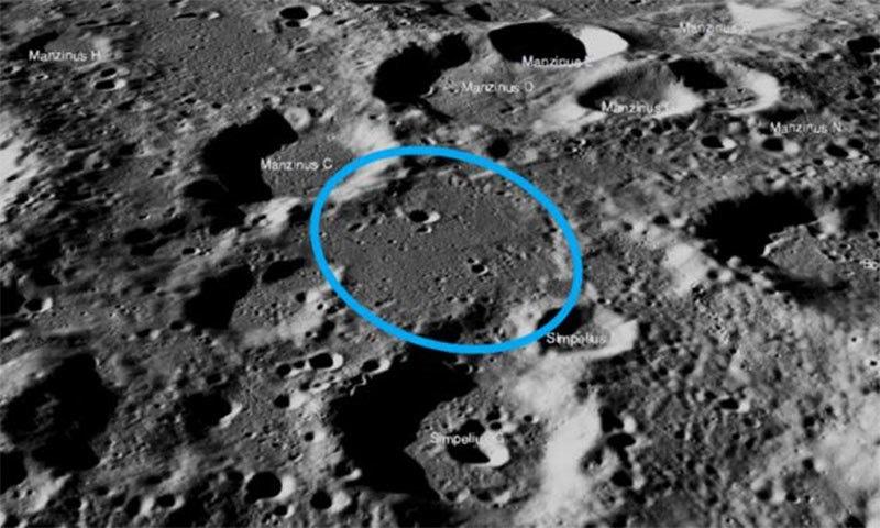 مشن کو اس نیلے دائرے کے اندر لینڈ ہونا تھا — فوٹو بشکریہ ناسا