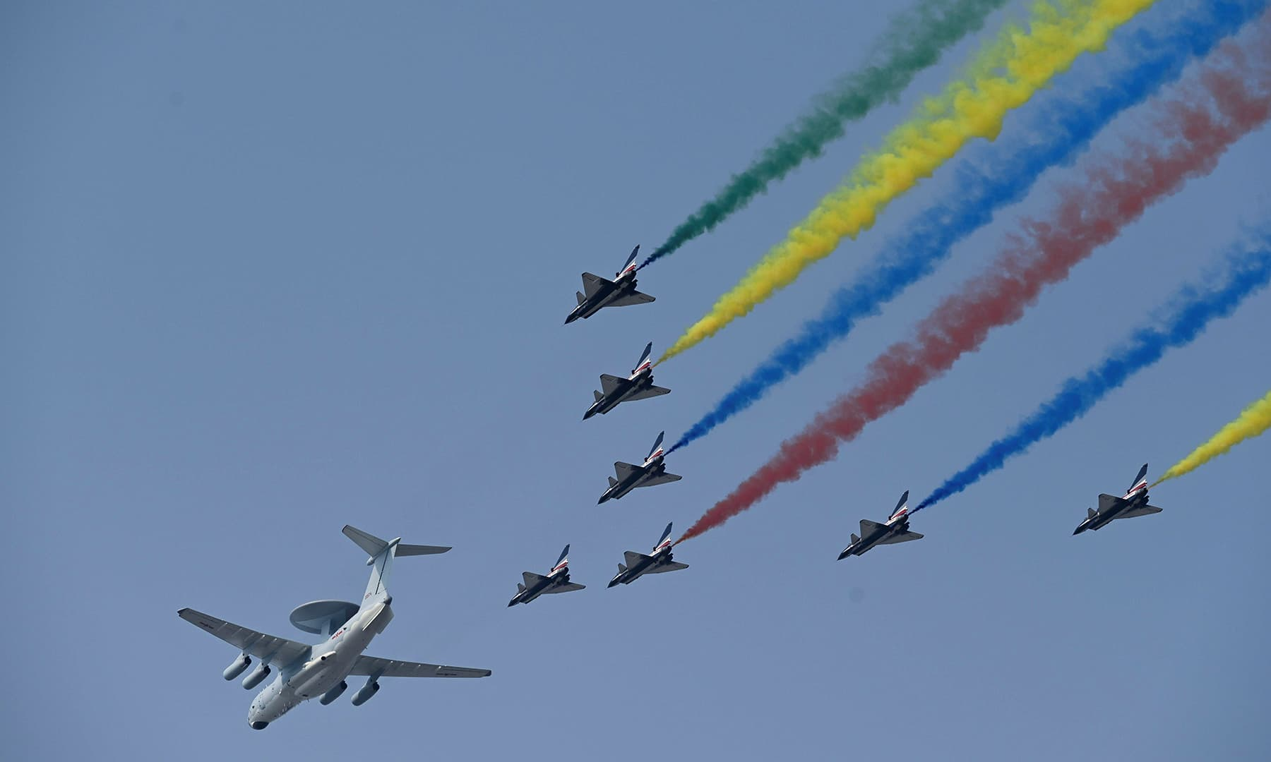 A formation of military airplanes, one KJ-2000 airborne early warning and control aircraft and eight J-10 multirole fighter jets, fly over Beijing during a military parade at Tiananmen Square. — AFP