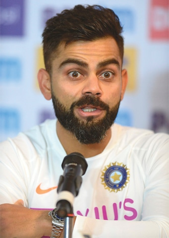 Indian captain Virat Kohli speaks at a press conference on Tuesday ahead of the first Test against South Africa.—AFP