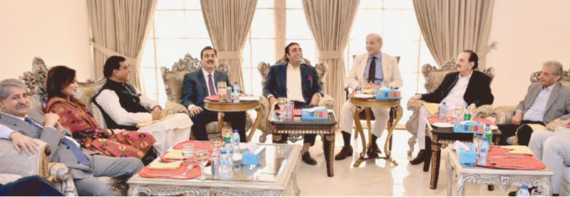ISLAMABAD: Leaders of Pakistan Muslim League-Nawaz and Pakistan Peoples Party, including Shahbaz Sharif and Bilawal Bhutto-Zardari, pictured during the meeting on Tuesday.—White Star