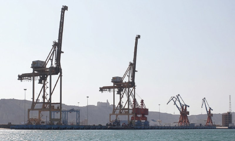 A view of the Gwadar port from the sea is seen in this file photo. The port is expected to serve as a gateway for landlocked Central Asian states by providing them access to maritime routes and a trade corridor for doing business with all countries of the world.