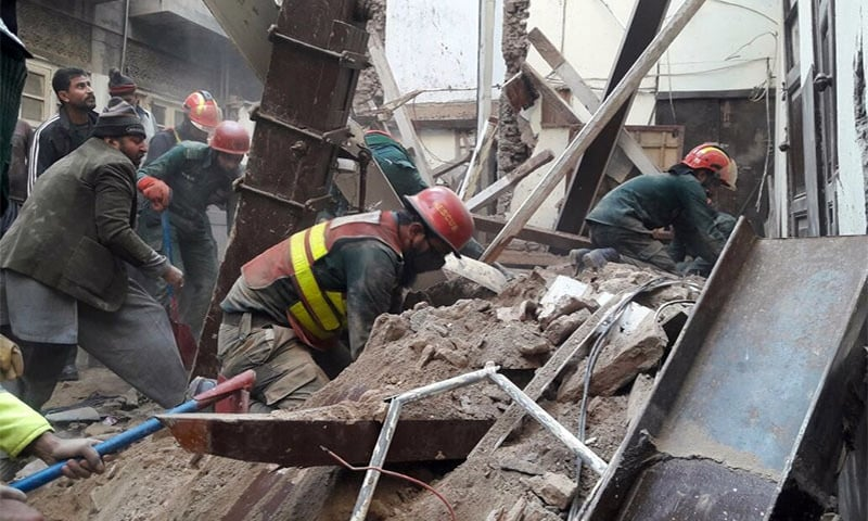 Three of family buried alive in building collapse in Lahore