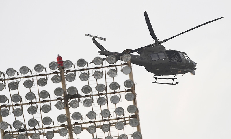 A Pakistani Army helicopter patrols over the stadium during the 3rd ODI in Karachi on Wednesday.  — AFP