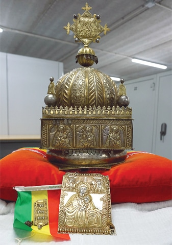 THIS Sept 27 file photo shows an 18th century Ethiopian crown at an undisclosed high-security storage facility in the Netherlands.—AFP