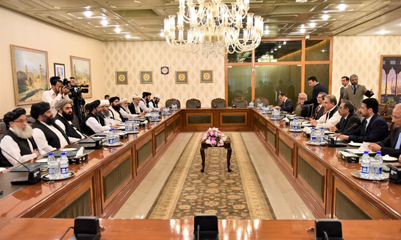 The high-level Afghan Taliban delegation currently in Islamabad to meet the Pakistani leadership were received by Foreign Minister Shah Mahmood Qureshi at the Ministry of Foreign Affairs Thursday morning, according to a press release issued by the Foreign Office (FO). — Photo provided by author