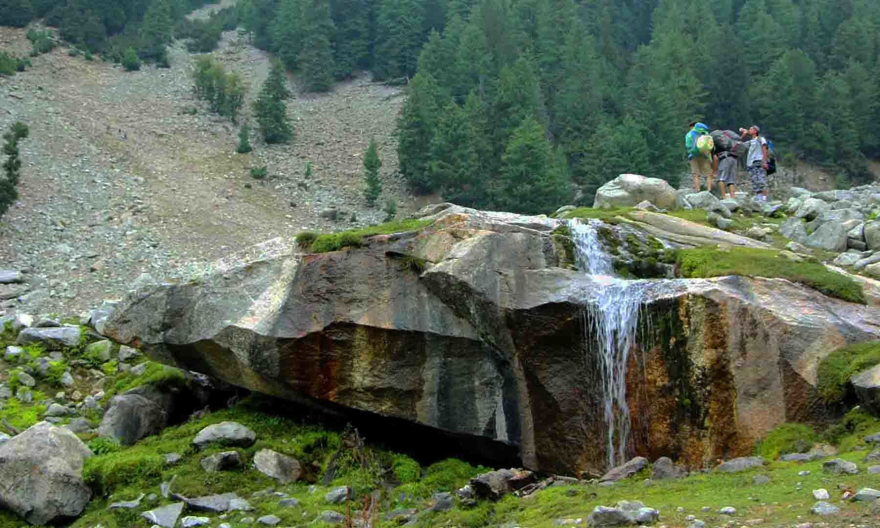 اس چھوٹی سی آبشار سے چکیل اور فیری میڈوز کے راستے جدا ہوتے ہیں
