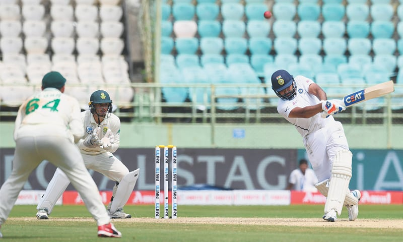 VISAKHAPATNAM: Indian opener Rohit Sharma plays a shot during first Test against South Africa at the Dr Y.S. Rajasekhara Reddy ACA-VDCA Cricket Stadium on Thursday.—AFP