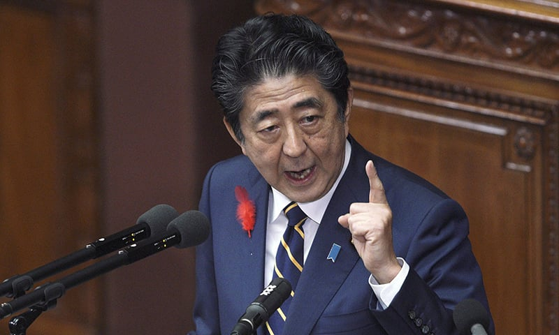 Japanese Prime Minister Shinzo Abe delivers the policy speech during the opening of the extraordinary parliament session in Tokyo on Friday, Oct. 4, 2019. — AP