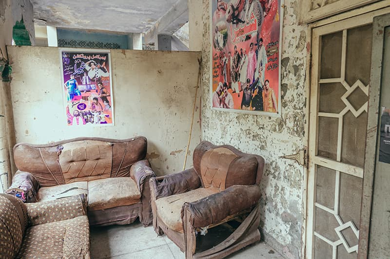 Old sofas, probably once used for props, are now used by the people working at Bari Studios for their own seating arrangements.