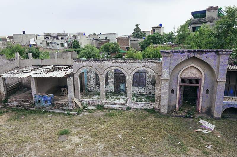 An aerial view of the derelict structure often used to depict a village setting in Lollywood films.