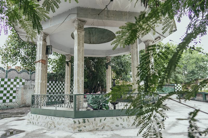 The shrine of Hazrat Janab Ghaib Shah Wali Hyderi Qalandari was built after the management was told a saint buried on the premises of the studio was responsible for the freak accidents taking place on set during filming.