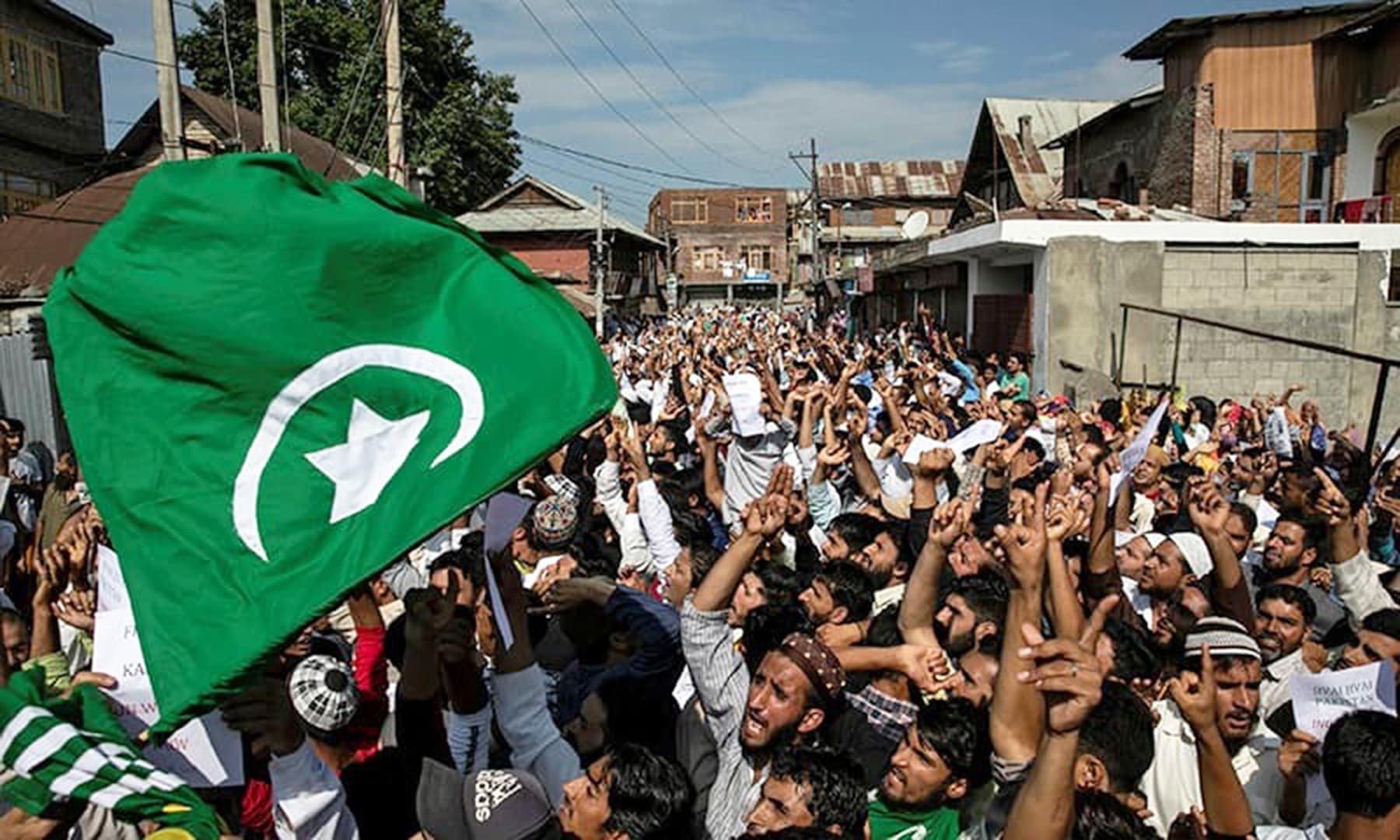 Kashmiris attend a protest after Eidul Azha prayers at a mosque during restrictions in Srinagar, August 12. — Reuters