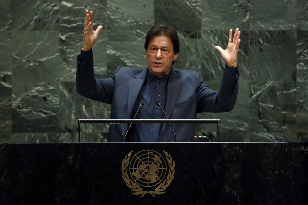 Prime Minister Imran Khan addresses the 74th session of the United Nations General Assembly on Sept 27. — AP