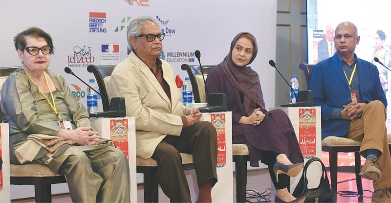 Anna Suvorova, Iftikhar Arif, Vafa Yazdan Manesh and Harris Khalique at the 6th Islamabad Literature Festival | White Star