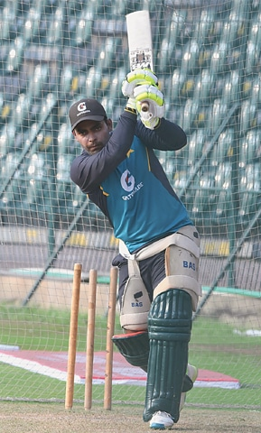 PAKISTAN batsman Umar Akmal in action during a nets session on Friday.—White Star