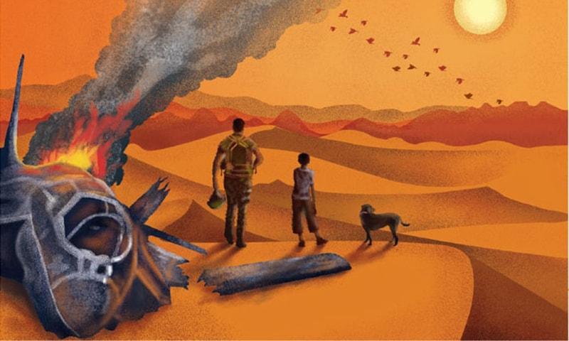 محمد حنیف نے کتّے کے ذریعے کہانی بیان کرنے کا بڑا ہی انوکھا اور دلچسپ طریقہ اختیار کیا ہے—السٹریشن: عائشہ فصیح