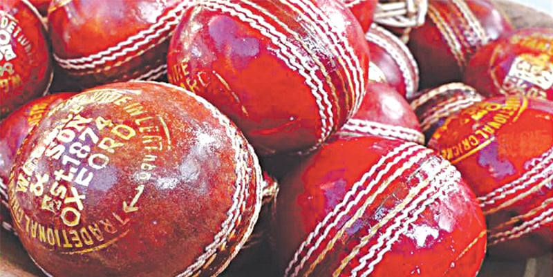 The traditional red cricket balls