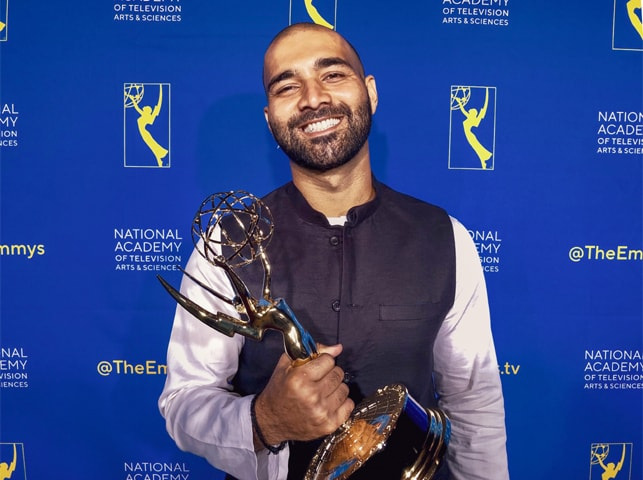 Asad Faruqi with his Emmy | Flavia De Souza