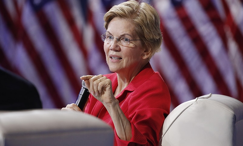 Democratic presidential candidate for the US Elections 2020, Senator Elizabeth Warren, on Saturday expressed concern about the recent events in occupied Kashmir, including the ongoing communications blackout. — AP