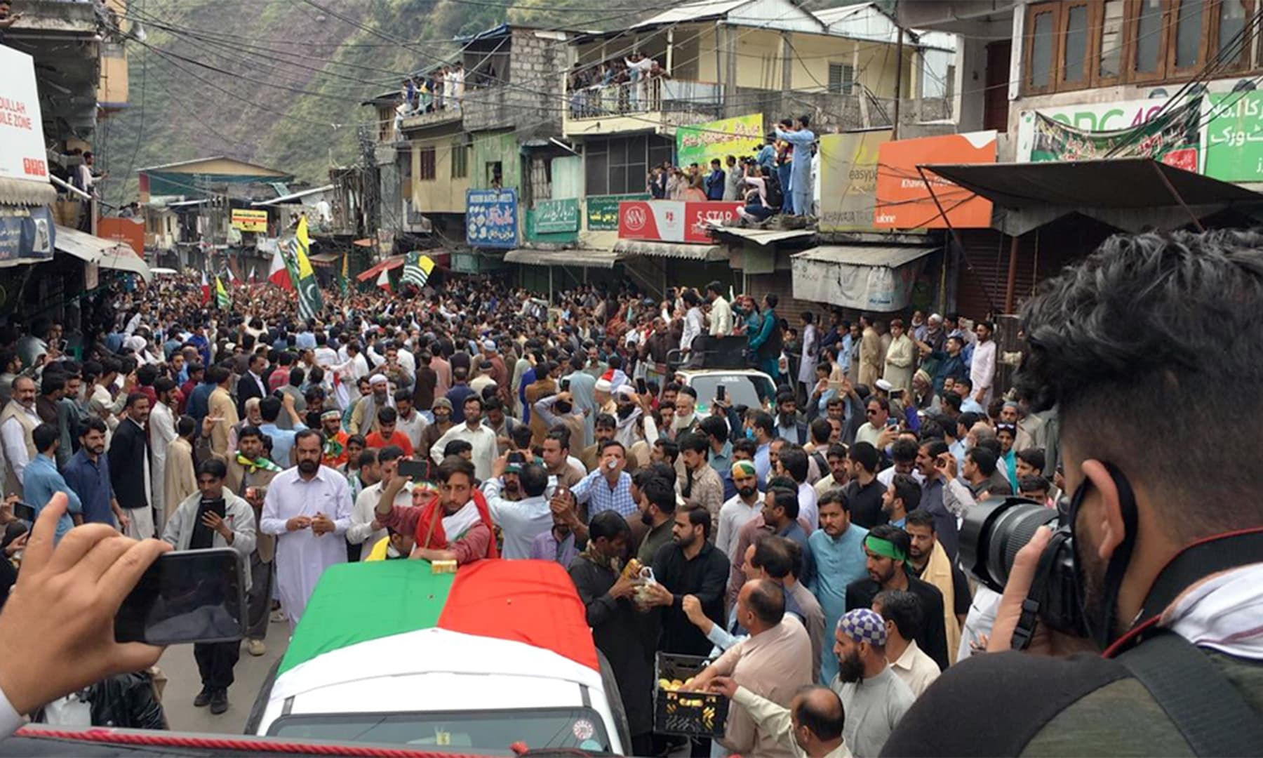 The caravan being welcomed in Hattian Bala. — Photo by author