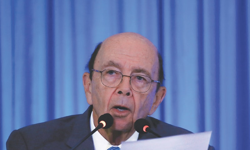 In this file photo, US Commerce Secretary Wilbur Ross addresses a gathering at the Trade Winds Indo-Pacific Trade Mission and Business Forum in New Delhi, India, May 7, 2019.—Reuters