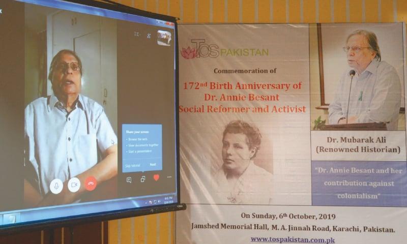 DR Mubarak Ali speaks at the event through video link on Sunday. —White Star