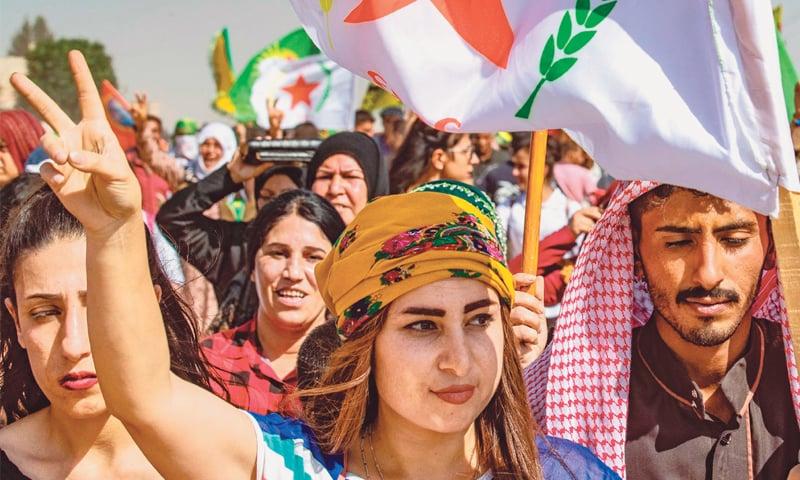 Kurds protest in Syria against Turkish offensive threat