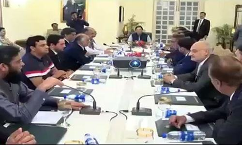Prime Minister Imran Khan speaks to a delegation of members of various chambers of commerce and industry on Thursday. — Photo courtesy Radio Pakistan/File