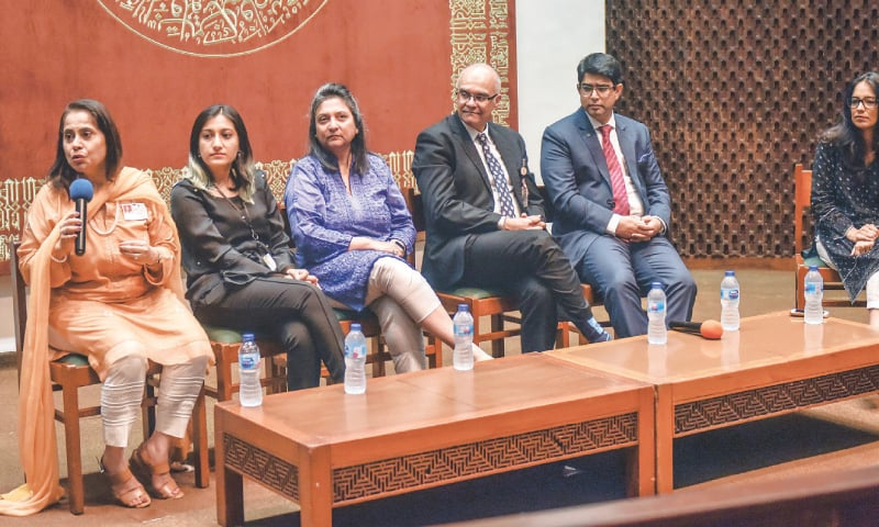 THE panel discussion under way at AKU on Monday.—White Star
