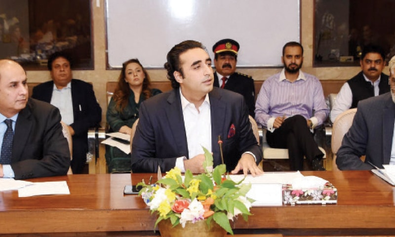 NA Standing Committee on Human Rights Chairman Bilawal Bhutto Zardari presides over a meeting in the Parliament House on Monday. — APP