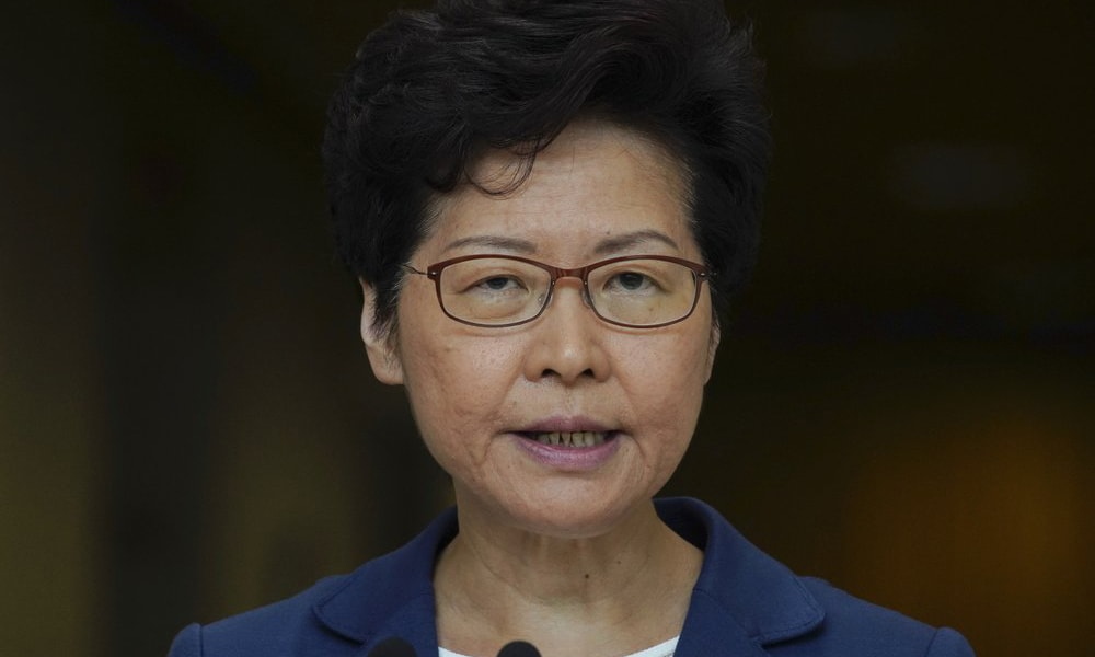 Hong Kong Chief Executive Carrie Lam speaks during a press conference in Hong Kong on Tuesday. — AP