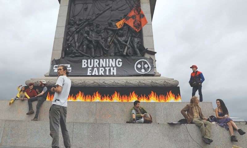 London: Extinction Rebellion protesters demonstrate at Trafalgar Square on Tuesday. — Reuters