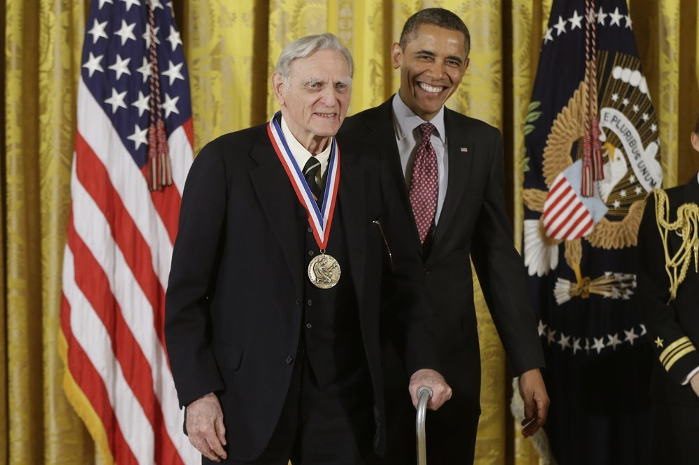 In this Feb 1, 2013 file photo, then-US President Barack Obama awards the National Medal of Science to Dr John Goodenough of the University of Texas. ─ AP