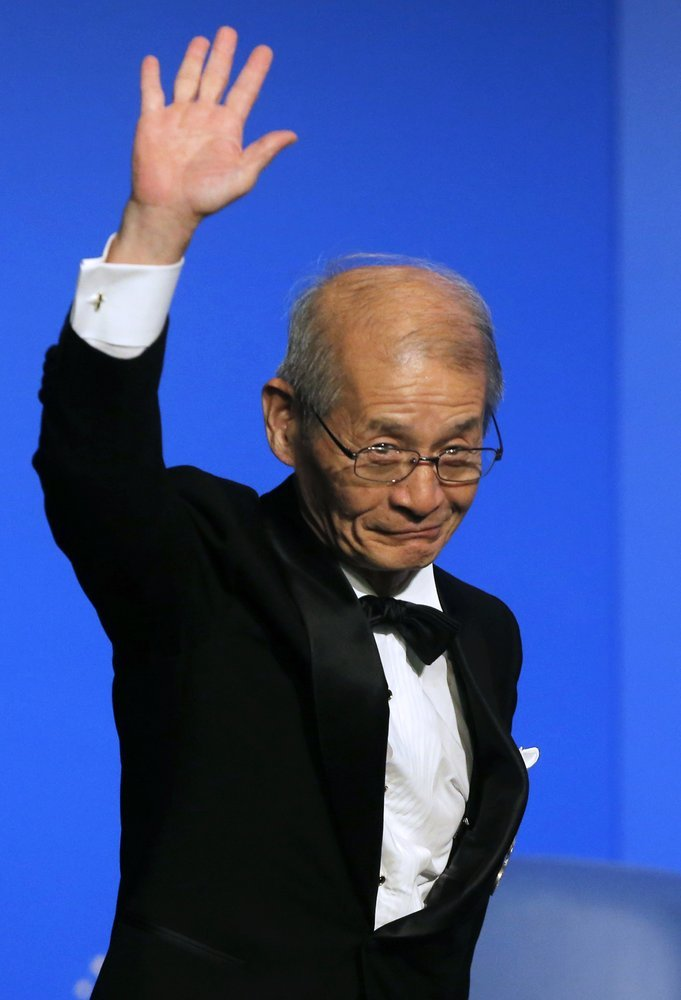 In this June 21, 2013 file photo, Japanese chemist Akira Yoshino speaks during Global Energy Prize award ceremony in St Petersburg, Russia. ─ AP