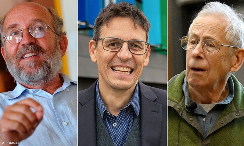تین میں سے دو سائنسدانوں کا تعلق سوئٹزرلینڈ سے ہے—فوٹو: اے پی