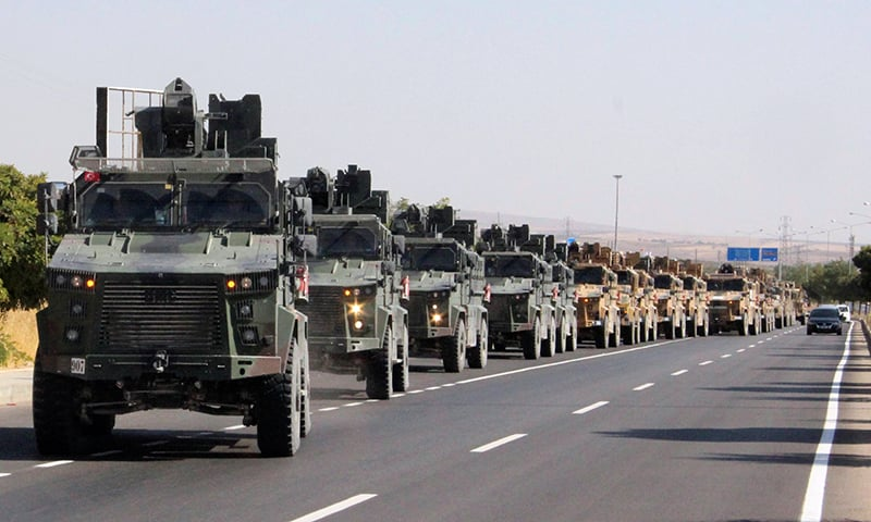 A Turkish miltary convoy is pictured in Kilis near the Turkish-Syrian border, Turkey, Wednesday. — Reuters