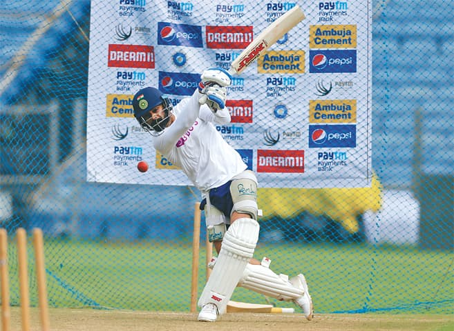 PUNE: Indian captain Virat Kohli bats during a practice session on Wednesday, ahead of the second Test against South Africa.—AP