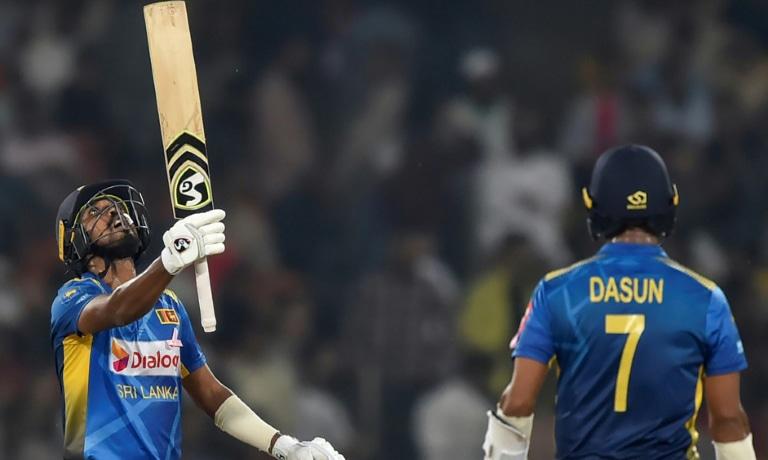 Sri Lanka's Oshada Fernando celebrates reaching his half century on Wednesday. — AFP