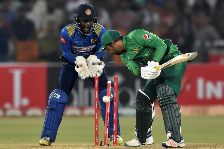 Pakistan captain Sarfaraz Ahmed was one of three wickets for Sri Lanka spinner Wanindu Hasaranga on Monday. ─ AFP