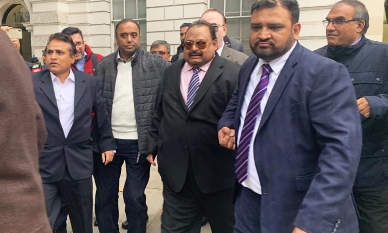 Muttahida Qaumi Movement (MQM) founder Altaf Hussain leaves after appearing before a magistrates' court in London on Thursday. — Photo by author