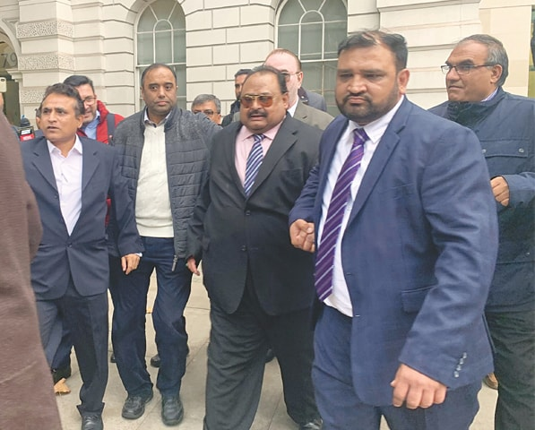 LONDON: Altaf Hussain leaves the magistrate's court after the proceedings on Thursday.—Photo by writer