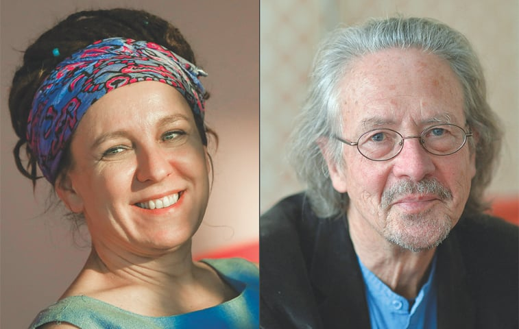 Olga Tokarczuk (left) and Peter Handke.—AFP