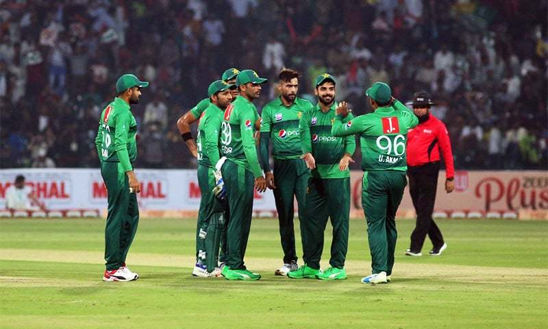 Pakistan gathered to celebrate the fall of a wicket from the Sri Lankan side. — PCB