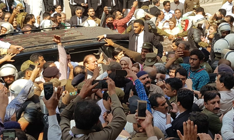 Former Prime Minister Nawaz Sharif was presented before an accountability court on Friday. — Photo by Adnan Sheikh